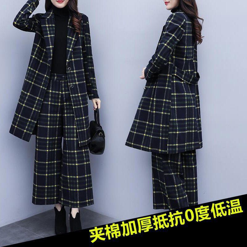 2020秋冬装新款大码两件套洋气韩版毛呢格子西装阔腿裤时尚套装女-郡宇服饰-