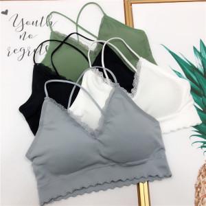 吊带抹胸蕾丝拼接木耳边一片式胸垫上衣性感内衣女潮