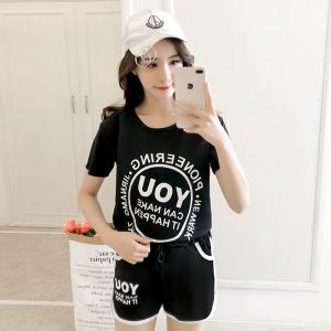 字母印花短袖T恤休闲运动套装女宽松高腰短裤两件套