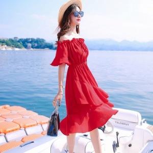 短袖连衣裙中长款一字肩不规则沙滩裙海边ins性感
