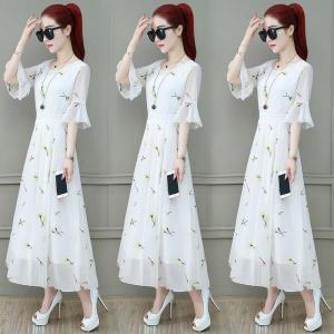 款雪纺连衣裙女春装时尚气质夏天长裙子印花洋气显瘦