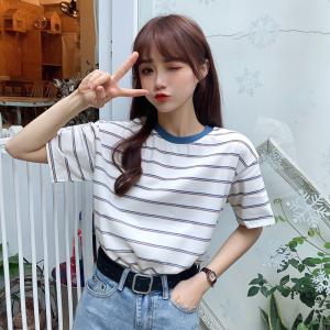 6535拉架棉 短袖t恤女条纹