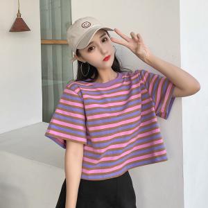 6535拉架棉 短袖t恤女条纹短款