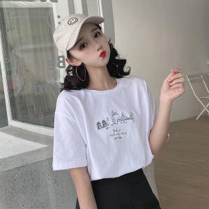 6535拉架棉 短袖t恤女刺绣