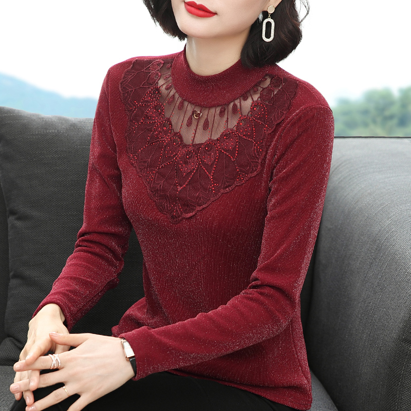 实拍半高领网纱长袖t恤女2020新款春季蕾丝性感打底衫女洋气外穿-香娅图-