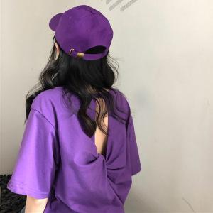 女装宽松百搭小心机短袖紫色T恤性感露背五分袖体恤上衣
