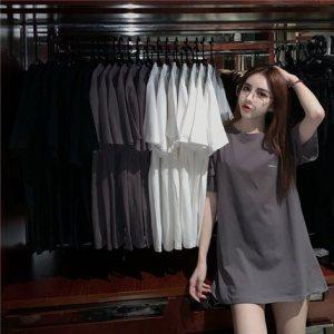 中长款短袖T恤女ins洋气时尚韩版百搭夏上衣潮宽松上衣T恤