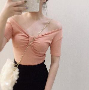 时尚V领蝴蝶结褶皱优雅气质三文鱼色纯色上衣T恤女