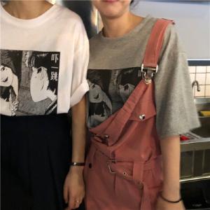 INS复古风北山君动漫宽松情侣短袖T恤