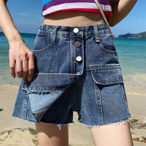 牛仔裙裤女夏浅色学生宽松短裤百搭假两件裤裙a字半身裙