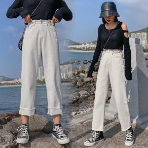 韩国chic米白色显瘦高腰直筒裤宽松长裤牛仔裤阔腿裤女潮