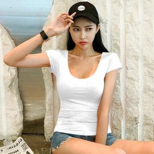 交叉低胸性感露背t恤女夜店小心机紧身心机短袖上衣主播衣服