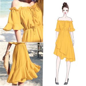 法式维多利亚复古仙女沙滩裙子夏黄色雪纺海边度假一字肩连衣裙女