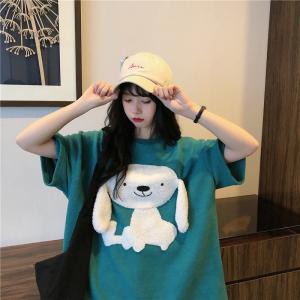 棉卡通短袖上衣可爱狗狗T恤刺绣