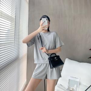 套装女韩版简约短袖短裤两件套女懒人套装