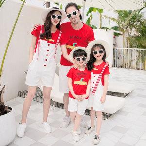 FS63388# 亲子装夏装新款潮一家三口四口母女套装洋气网红 服装批发女装货源