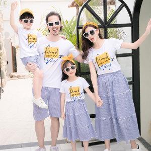 FS63391# 条纹亲子装情侣装夏装母子女装一家四口短袖t恤套装 服装批发女装货源