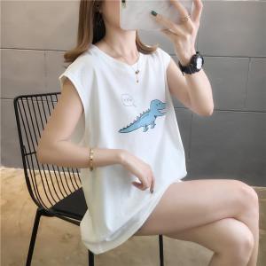 宽松卡通无袖t恤运动汗衫背心上衣外穿潮