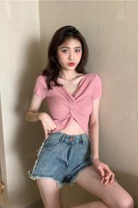 纯色打底衫心机交叉短袖上衣针织衫t恤女