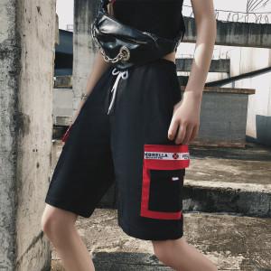 工装短裤女夏宽松直筒bf风休闲嘻哈潮运动五分裤