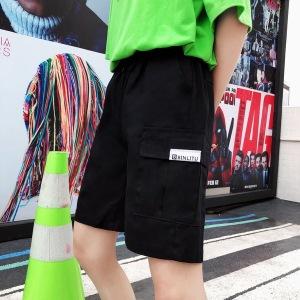 202工装裤女夏五分裤宽松直筒中性大口袋休闲短裤子二色