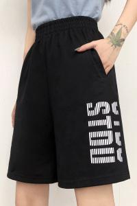 五分裤女直筒嘻哈宽松运动休闲短裤子