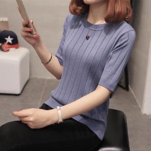 圆领冰丝短袖针织打底衫条纹中袖上衣五分袖薄毛衣女