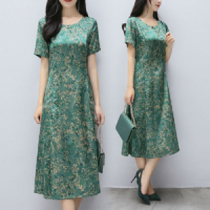 Large print dress for middle-a...