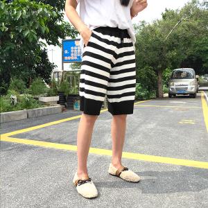 高腰显瘦五分裤子女宽松黑白条纹针织裤休闲百搭短裤