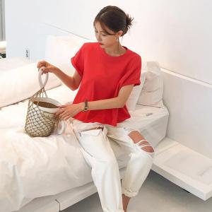 95%棉短袖潮宽松A字下摆白色体恤纯棉上衣
