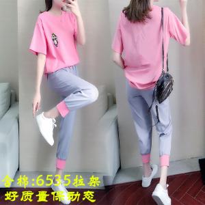 休闲运动服套装女T恤九分裤时尚潮牌洋气两件套