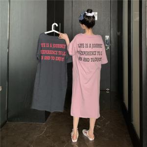 休闲宽松chi简约字母印花长款慵懒风开叉T恤连衣裙