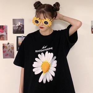 国潮印花残菊短袖T恤女