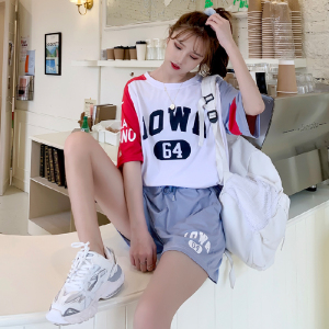 6535含棉33%t恤套装女韩版宽松短袖短裤休闲两件套装