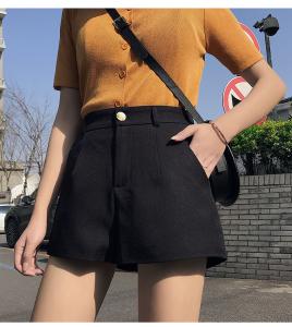 YF43060# 夏装新款外穿百搭黑色高腰宽松显瘦休闲松紧a字西装短裤女 服装批发女装直播货源