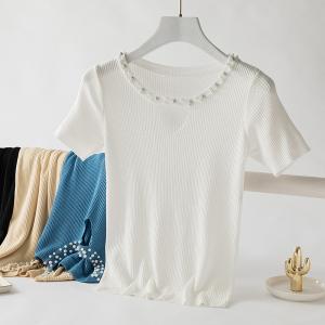 图 套头冰丝修身显瘦镂空钉珠针织衫女百搭圆领打底衫潮
