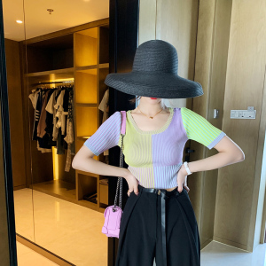 T恤春季套头修身毛针织衫短袖法式竖条纹上衣女lin