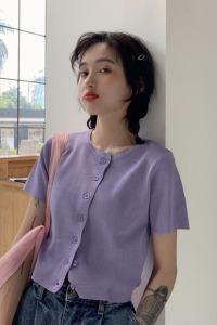 宽松百搭短袖针织衫女夏香芋紫色短款开衫上衣