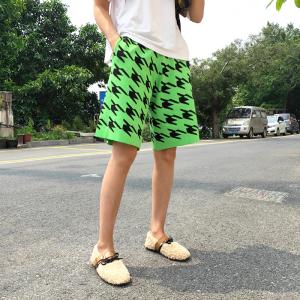 高腰短裤女宽松千鸟格绿色针织裤休闲百搭运动五分裤