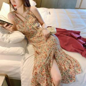 侧开叉碎花吊带仙女裙雪纺v领连衣裙时尚气质裙子