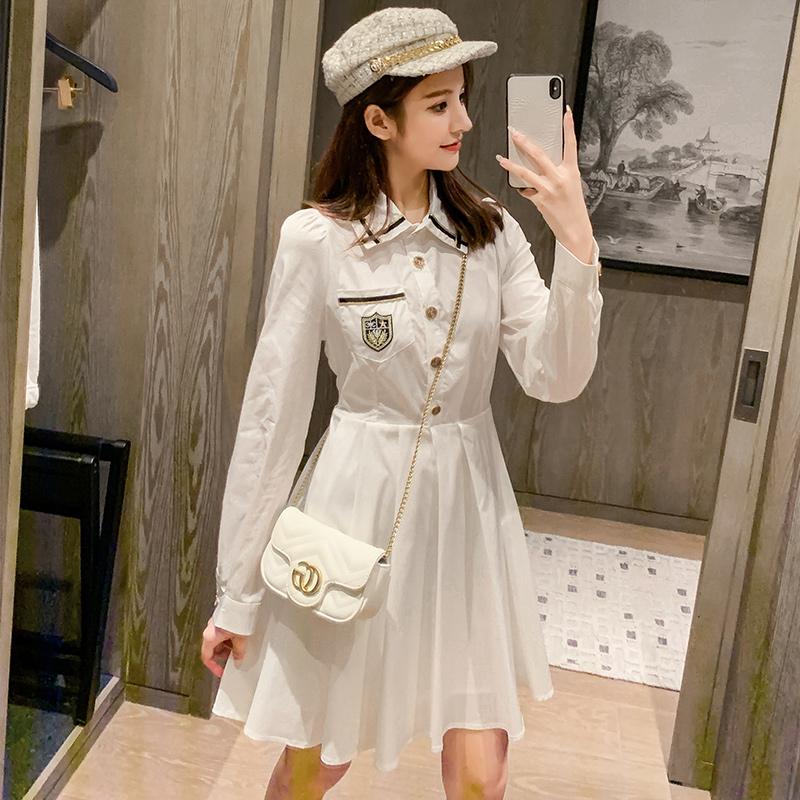 实拍白色学院风长袖衬衫裙2020年新款女装韩版收腰学生连衣裙洋气-唯美嘉服饰-