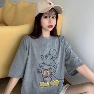 6535拉架棉 短袖t恤女印花中长款米奇米老鼠宽松大码T恤女