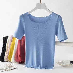 上衣方领短袖冰丝T恤女简约纯色洋气修身显瘦针织衫