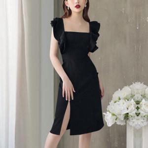 FS98277# 气质小飞袖连衣裙新款法式荷叶边方领收腰显瘦桔梗裙子夏