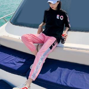 6535棉 运动休闲两件套装女宽松T恤潮牌时尚短袖