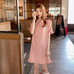 木耳边短袖小清新polo连衣裙中长款刺绣流行粉色t恤裙子