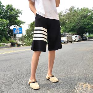 高腰显瘦五分裤女宽松四条杠针织裤休闲百搭运动短裤