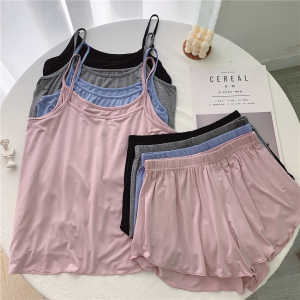 莫代尔纯棉女短裤吊带小清新两件套纯色睡衣家居服