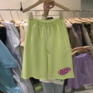 五分运动短裤女夏潮宽松高腰直筒bf工装中裤子