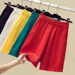 短裤 夏外穿直筒高腰显瘦女宽松休闲冰丝针织裤子